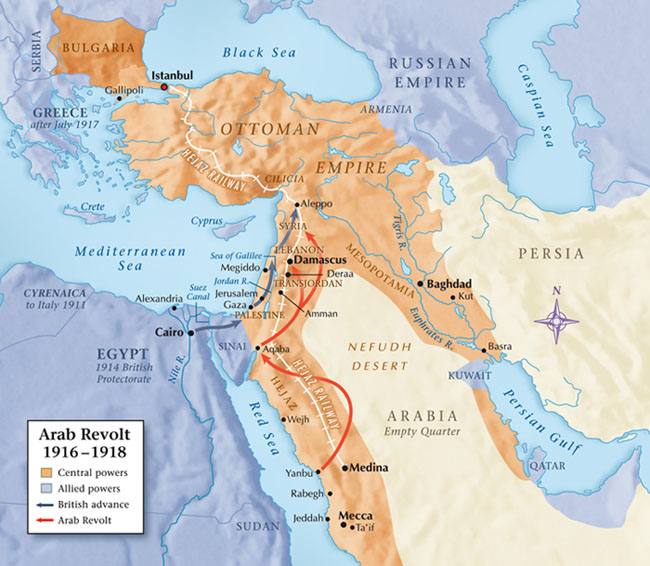 Map of revolt against Ottoman Empire